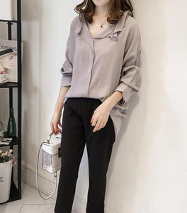 Pure Color The Bat   Sleeve Loose Shirt Blouse Gray m