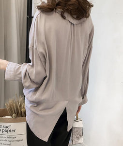Pure Color The Bat   Sleeve Loose Shirt Blouse Blue 2xl