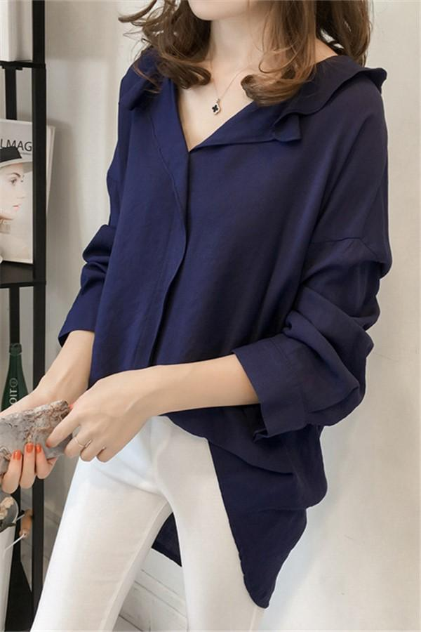 Pure Color The Bat   Sleeve Loose Shirt Blouse Khaki l