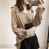 Pure Color The Bat   Sleeve Loose Shirt Blouse Gray l