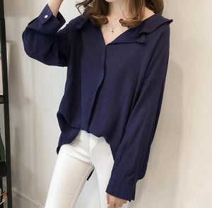 Pure Color The Bat   Sleeve Loose Shirt Blouse Khaki 3xl
