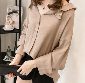 Pure Color The Bat   Sleeve Loose Shirt Blouse Gray 3xl