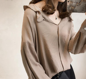 Pure Color The Bat   Sleeve Loose Shirt Blouse Gray xl