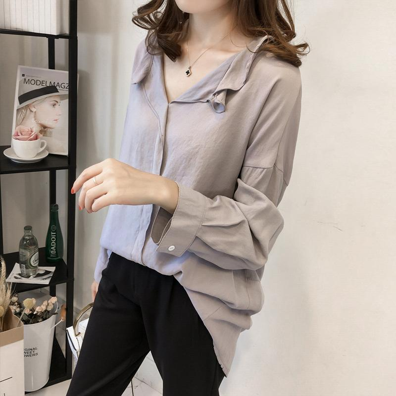 Pure Color The Bat   Sleeve Loose Shirt Blouse Blue l