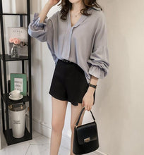 Pure Color The Thin Chiffon Long Sleeved Shirt