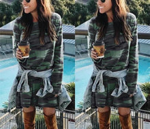 1Casual Round Collar Camouflage Long Sleeved Slim Mini Dress