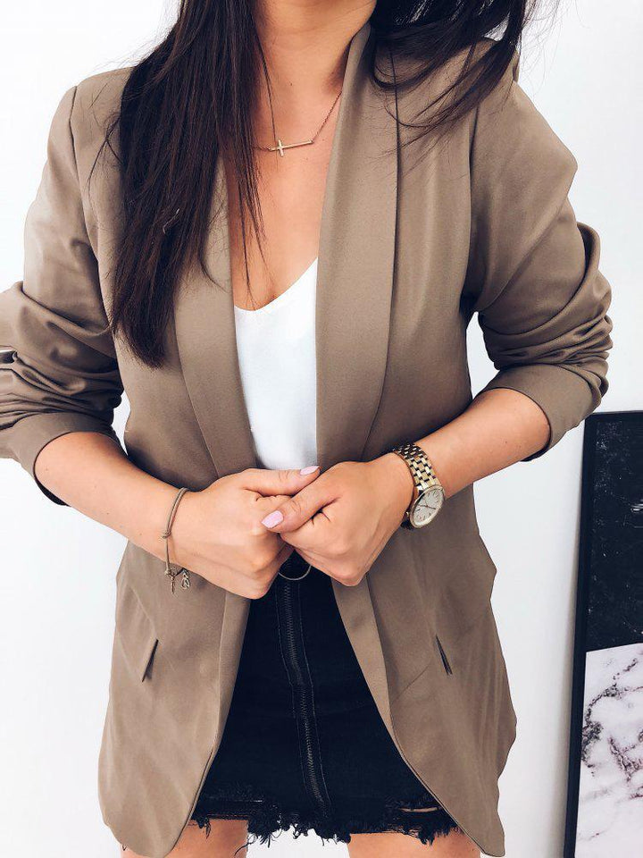 Casual Pure Color   Elegant Contracted Suit Jacket Lapels Brown s