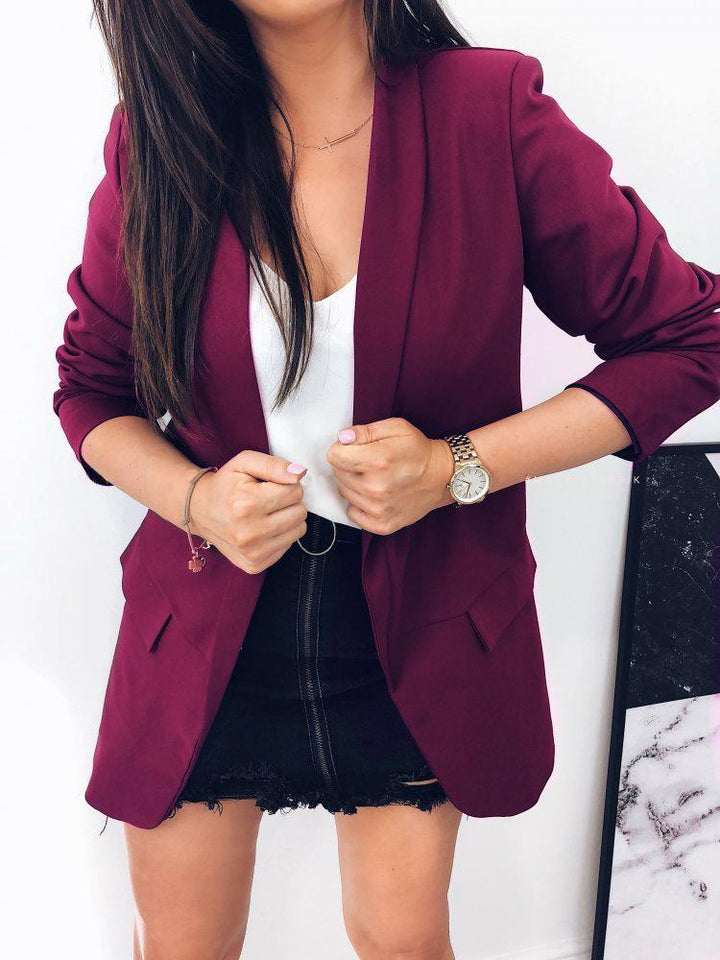 Casual Pure Color   Elegant Contracted Suit Jacket Lapels Brown xl