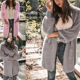 Casual Pure Color Long   Loose Soft Cardigan Pink m