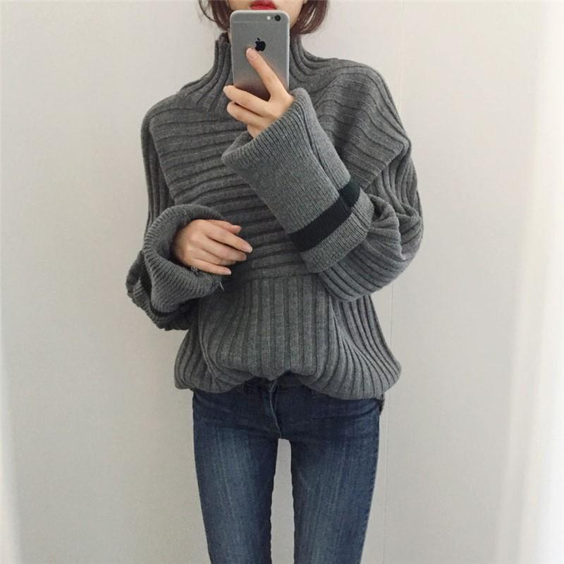 Casual To Add Long   Sleeve Turtleneck Turtleneck Knitting Sweater Apricot one size