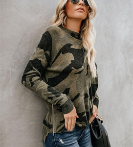Sexy Round Collar   Camouflage Printed Long Sleeve T-Shirt Blouse Camouflage xl
