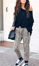 Sexy Leopard Print Shown Thin Slacks Ankle Banded Pants