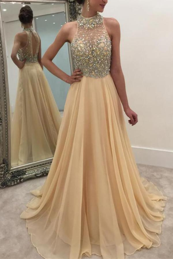 Casual Sleeveless Halter Sequins Chiffon Maxi Dresses Apricot s