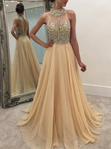 Casual Sleeveless Halter Sequins Chiffon Maxi Dresses Apricot m