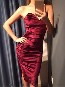 Sexy Deep V Pure Colour Velvet Slit Slim Evening Dress Claret l