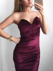 Sexy Deep V Pure Colour Velvet Slit Slim Evening Dress Claret xl
