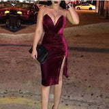 Sexy Deep V Pure Colour Velvet Slit Slim Evening Dress Claret m