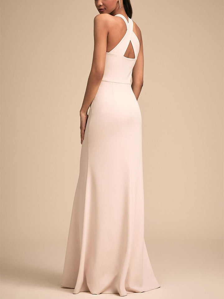 Fashion Bare Back Across Sleeveless Pure Colour Evening Dress White m