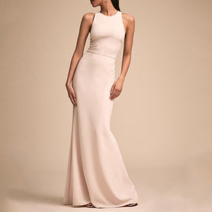Fashion Bare Back Across Sleeveless Pure Colour Evening Dress White l