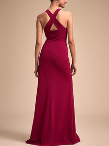 Fashion Bare Back Across Sleeveless Pure Colour Evening Dress Claret s