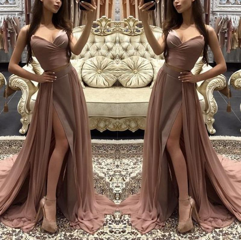 Sexy Pure Colour Slit Sling Evening Dress Apricot m