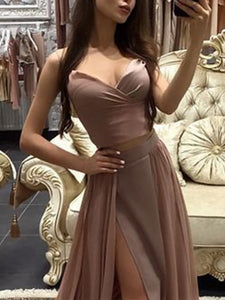 Sexy Pure Colour Slit Sling Evening Dress Apricot l