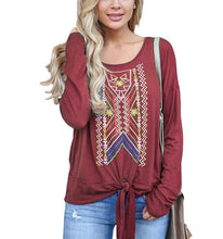 Casual Ethnic Style Printed Long Sleeve Blouse T-Shirt