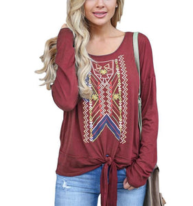 Casual Ethnic Style   Printed Long Sleeve Blouse T-Shirt Black xl