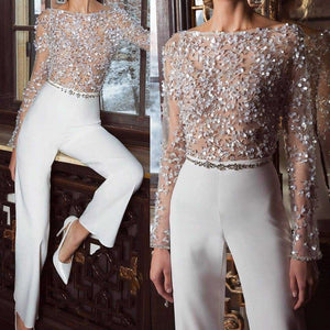 Fashion Elegant Pure Colour Splicing Sequins Jumpsuits White m
