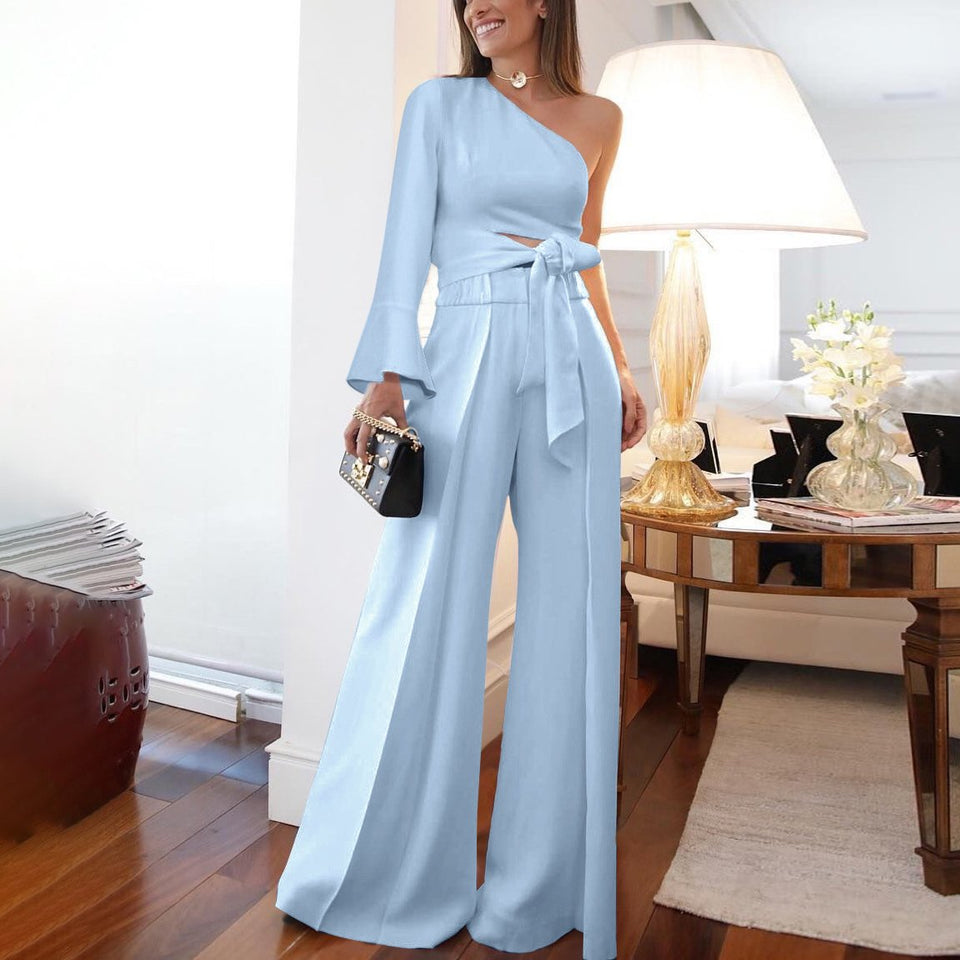 Fashion Pure Colour   Off-Shoulder Jumpsuit Same As Photo 2xl