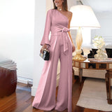 Fashion Pure Colour   Off-Shoulder Jumpsuit Same As Photo xl