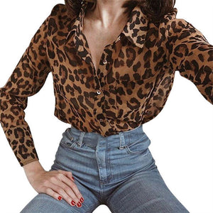 Fashion Leopard Print Long-Sleeved Shirt Same As Photo m