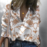 Casual Long Sleeve Printed Colour Loose Shirt Black one size