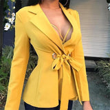 Fashion Long Sleeve   Frenulum Shown Thin Suit  Jacket Coat Yellow m