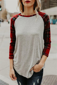 Fashion Long   Sleeve  Round Collar Loose And   Irregular Plaid  T-Shirts Blouse Light Gray s