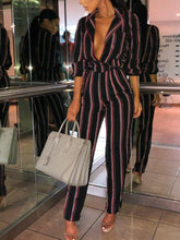 Fashion Striped Printed Colour V Neck Jumpsuits