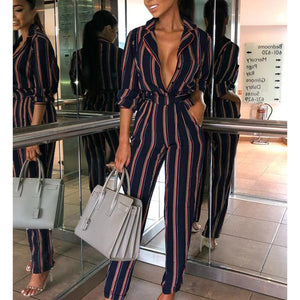 Fashion Striped Printed Colour V Neck Jumpsuits Black l