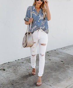 Fashion Loose Shredded   Printed Middle Sleeve Shirt Blouse Same As Photo s