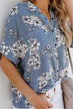 Fashion Loose Shredded   Printed Middle Sleeve Shirt Blouse Same As Photo xl