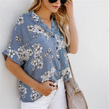 Fashion Loose Shredded   Printed Middle Sleeve Shirt Blouse Same As Photo l