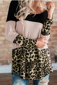 Fashion Leopard Print   Colour Matching Lace Long Sleeve T Shirt Blouse Black s