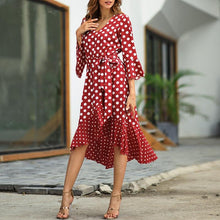 Casual Polka Dot V Neck Bell Sleeve Irregular Mini Dresses