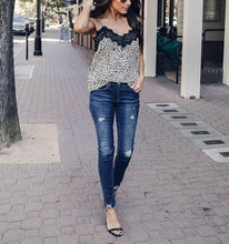 Fashion Leopard Pattern Sexy Sling Vest Lace T Shirt Blouse