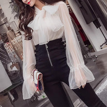 Casual Bell Sleeve Pure Colour See-Through Shirt