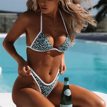 Vacation Sandbeach Sexy Printing Knotted Swimsuits Bikini