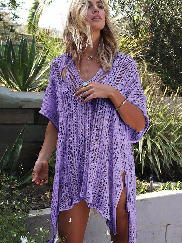 Loose Hollow Vacation Half Sleeve V Neck Beach Cover-Ups ROSE RED FREE SIZE