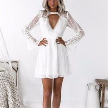 Fashion Sexy Deep V Lace Point Horn Sleeve Mini Dress