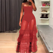 Fashion Casual Sexy Grenadine Sling Sleeveless Maxi Dress