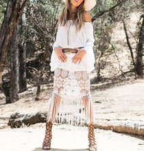 Fashion Sexy Bohemian Vacation Style Off Shoulder Lace Tassels Maxi Dresses