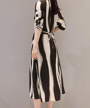 Fashion Stripe Middle Sleeve Chiffon Shirt Dress